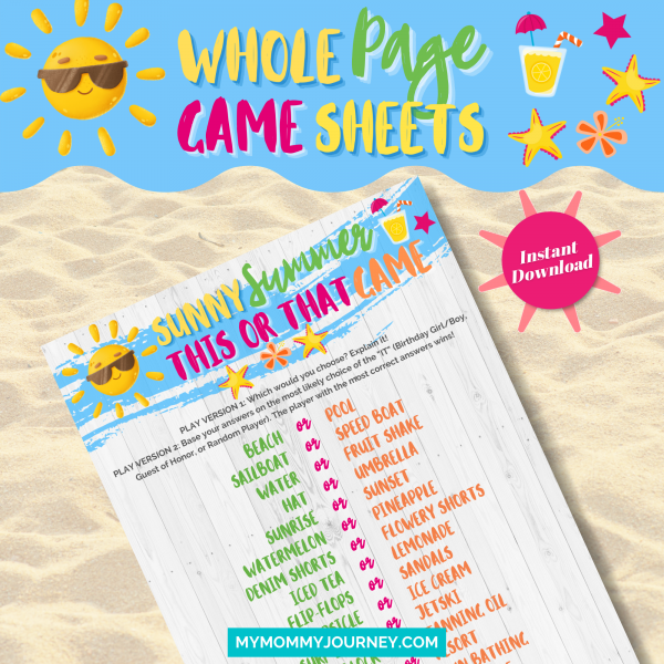 Sunny Summer This Or That Game whole page game sheet