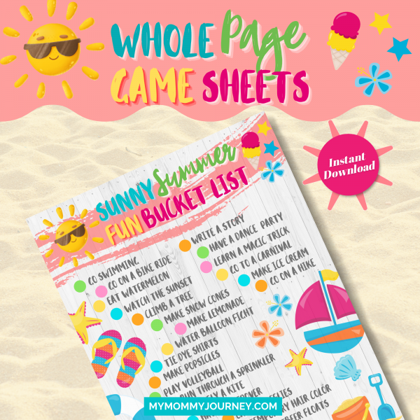 Sunny Summer Fun Bucket List whole page game sheet