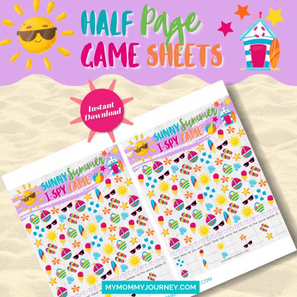 Sunny Summer I Spy Game half-page game sheet