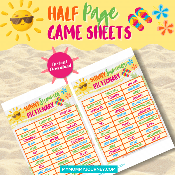 Sunny Summer Pictionary half-page game sheets