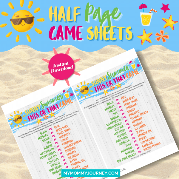 Sunny Summer This Or That Game half-page game sheets