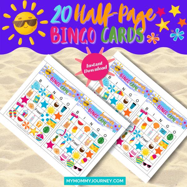 Sunny Summer Bingo Bundle Pack 20 Half-Page Bingo Cards
