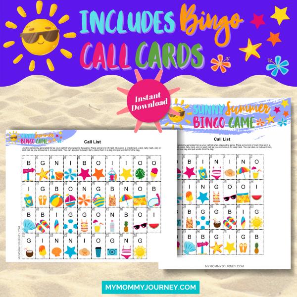 Sunny Summer Bingo Bundle Pack Includes Bingo Call CArds