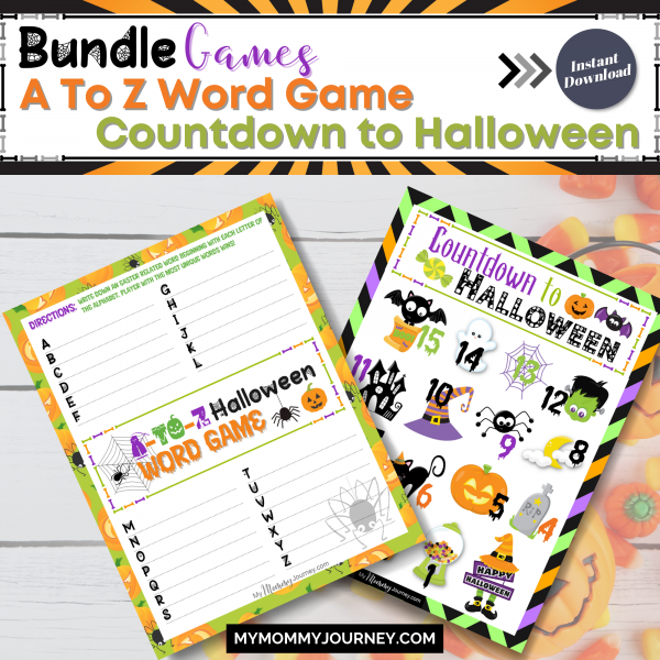 Bundle Games A To Z Word Game and Countdown to Halloween