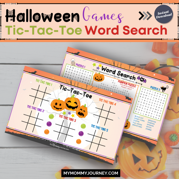 Halloween Games Tic-tac-toe and Word Search