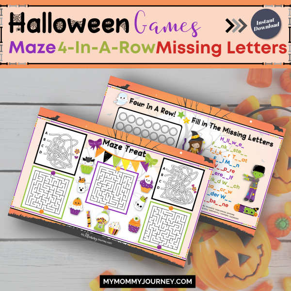 Halloween Games Maze, 4-in-a-Row and Missing Letters