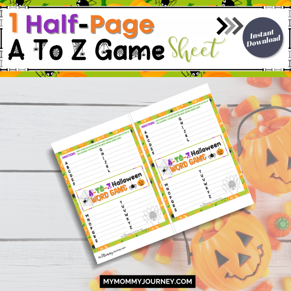 1 Half-page A to Z game sheet