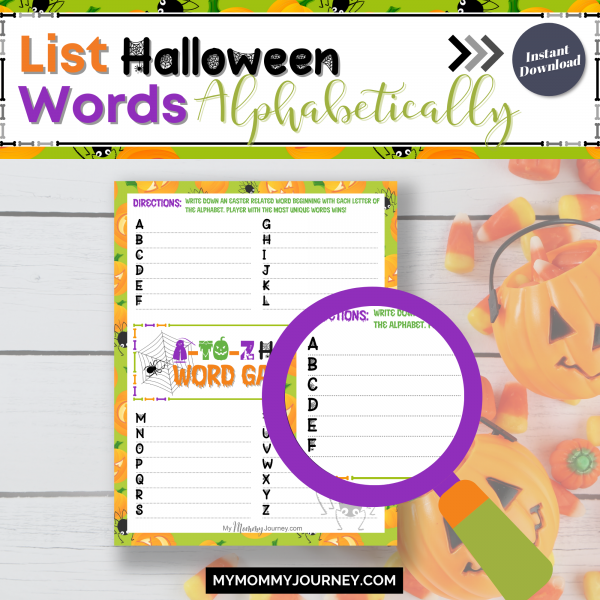 List Halloween words alphabetically