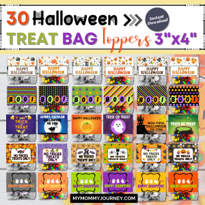 30 Halloween Treat Bag Toppers 3x4 Inches